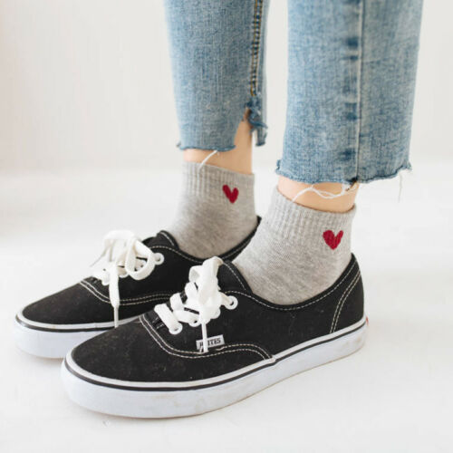 3Pairs Women Girl Casual Low Cut Cute Heart  Cotton Ankle High Socks School Home