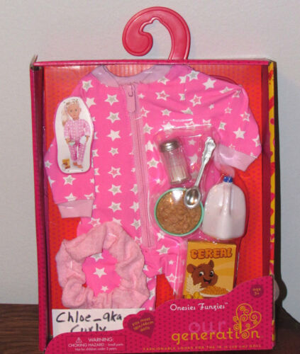 """American Our Generation Onezies FUNZIES Pajamas Cereal outfit set 18/"""" Girl Doll"""