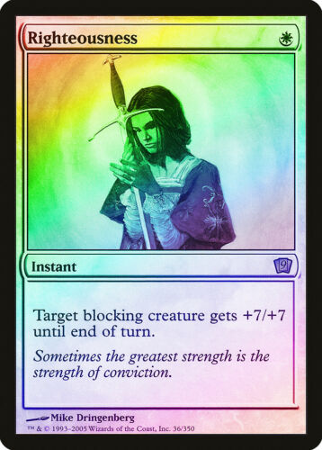 Righteousness FOIL 9th Edition NM-M White Rare MAGIC THE GATHERING CARD ABUGames
