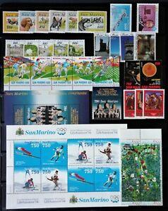 San Marino annata 1994 completa 32 valori + 2 foglietti BF49-50, nuovi integri