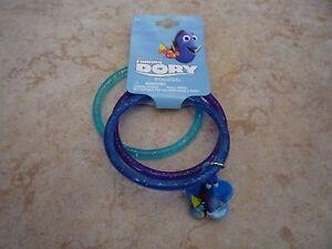 Disney-Finding-Dory-3-Bracelet-Set-Brand-New-Bangle-w-Charm-Blue-Purple-Glitter