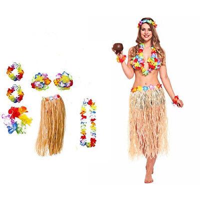 Hawaiian Fancy Dress Hula Skirt with Flowers Adult Costume 80cm