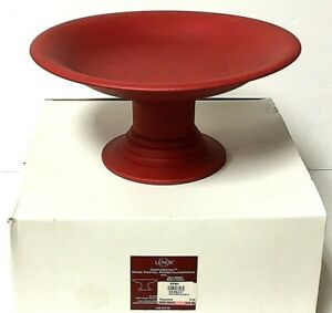 Lenox-Continental-Wood-Footed-Red-Pedestal-Dish-Bowl-With-Box