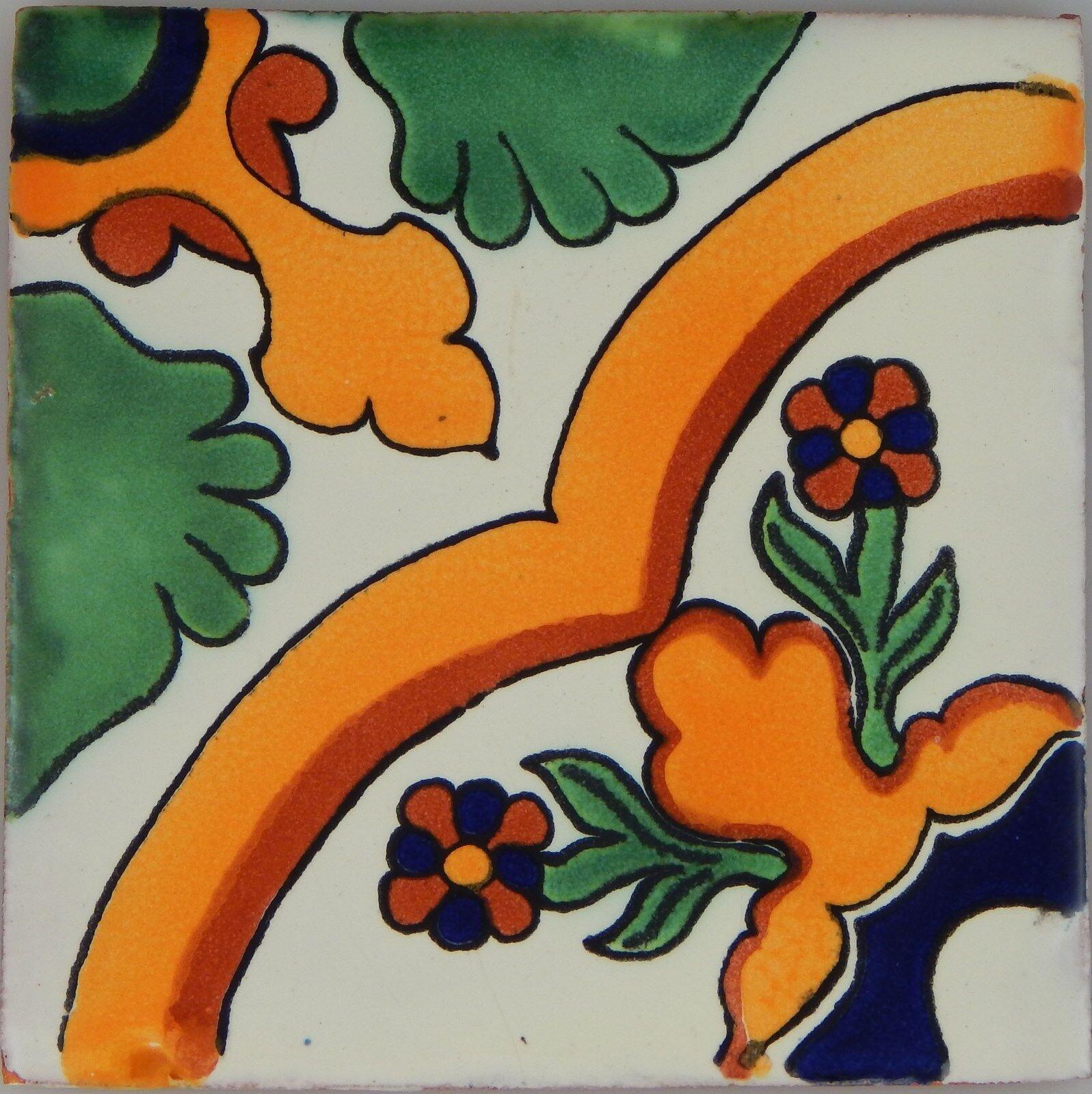 C351- Mexican Handmade Talavera Clay Tile Folk Art 4x4