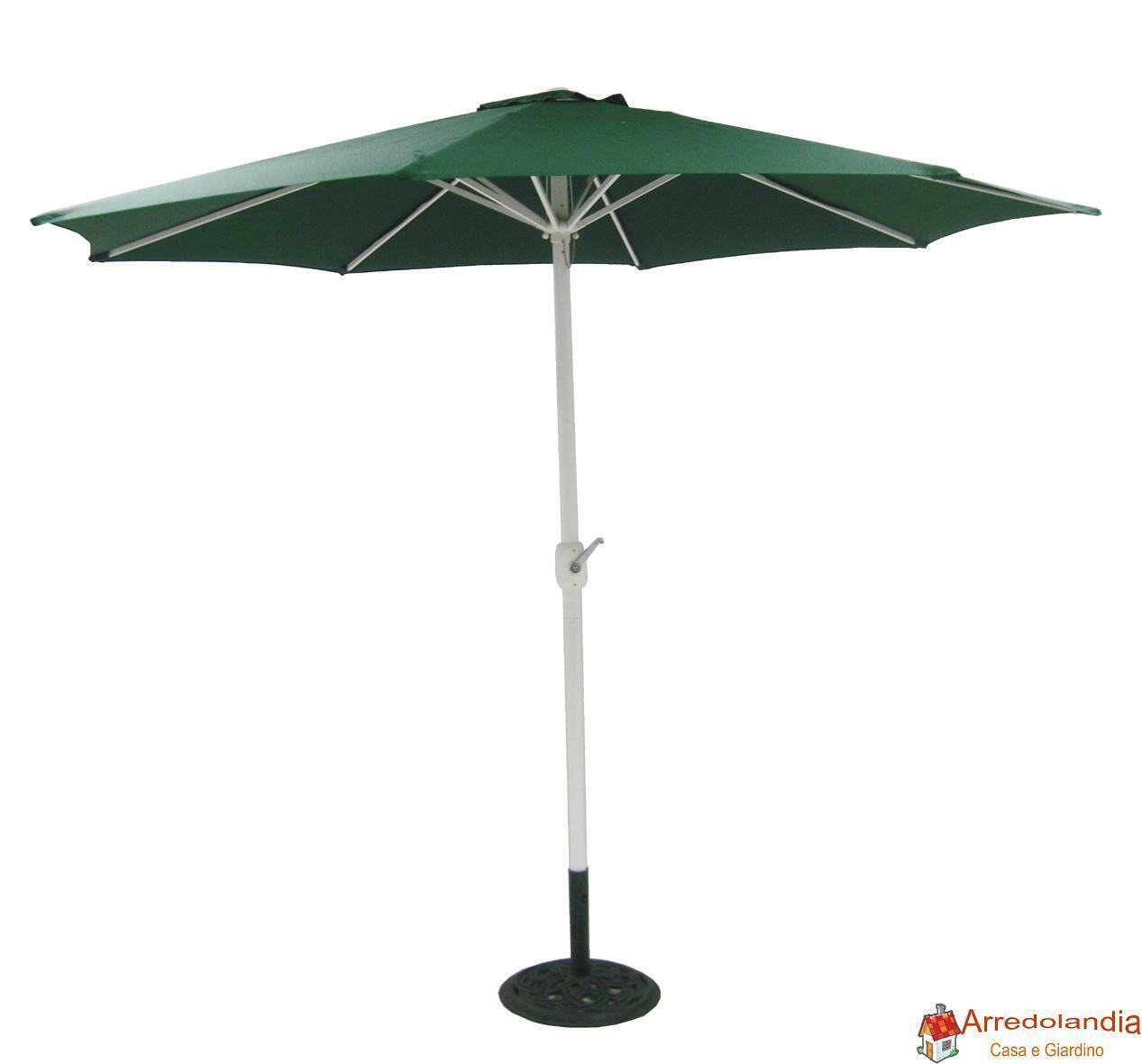 acquisti online Ombrellone telo verde verde verde tondo diametro 3 metri palo centrale in alluminio nero da  prezzi all'ingrosso