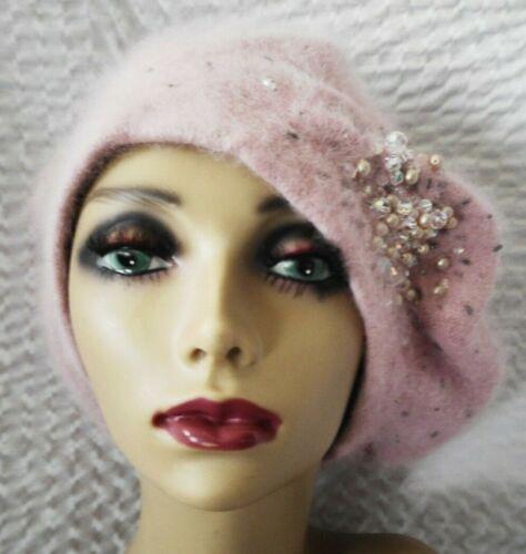 Fred Bare Pink Rabbit Wool Angora Beaded Beret Hat