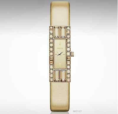 DKNY WOMEN'S GOLD METELLIC LEATHER CRYSTALS WATCH NY2127