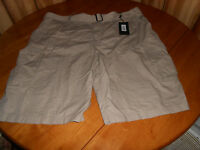 Mens Size 46 Beverly Hills Polo Shorts With Belt Brown Muted Khaki Cotton Flat