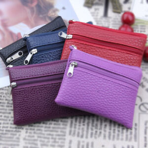 Leather Coin Purse Women Small Wallet Change Purses Zipper Money Bags Key Holder