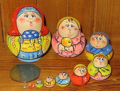 Nesting Russian dolls Matryoshka Babushka 10 White Blue birds MARCHENKO Genuine