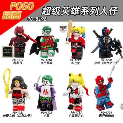 Mini Kinder Daredevil Super Hero Suicide Squad Harley Quinn Batman Jacker 8PCS