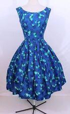 Vintage 1950s 50s Green Blue Splash Flowers Sculpted Waist Full Skirted Dress M