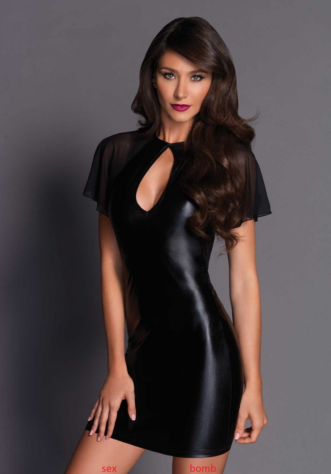 SEXY abito VESTITO black SCOLLO a GOCCIA wetlook drappeggiato fashion GLAMOUR