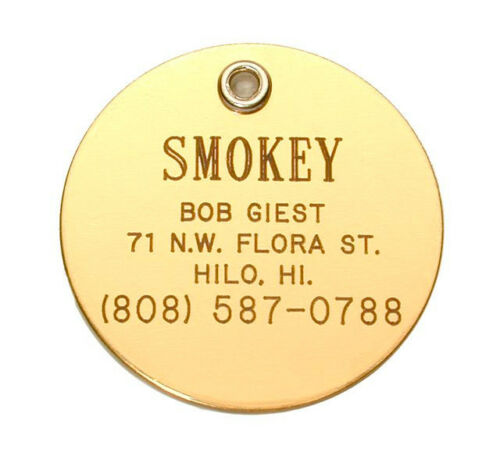 Reflective for Pets Safety Small Elegant Brass Dog Cat Pet ID Tag Personalized