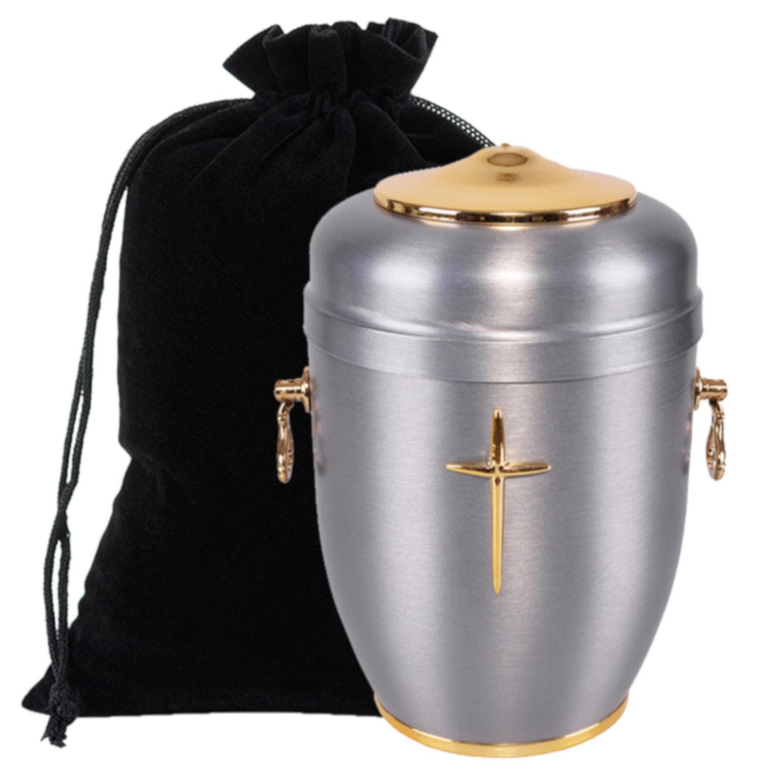 Exclusif Acier Urne de Crémation pour Cendres avec or Croix Funeral Adulte Gb