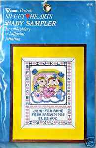 Stamped-Cross-Stitch-Baby-Sampler-Sweethearts-I-Love-You-New-by-Vogart-8758J