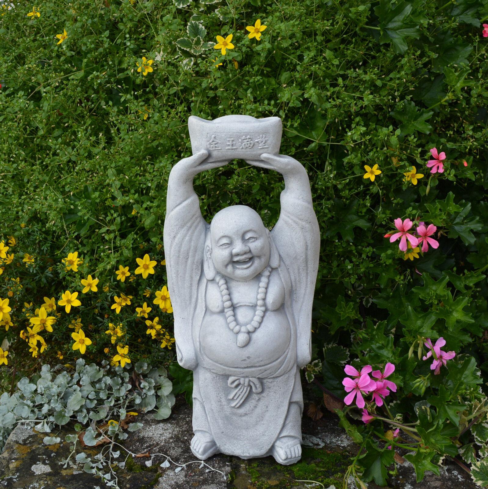 Diverdeida Decoración de Jardín Feliz Piedra Buda Monje Feng-Shui Resistente