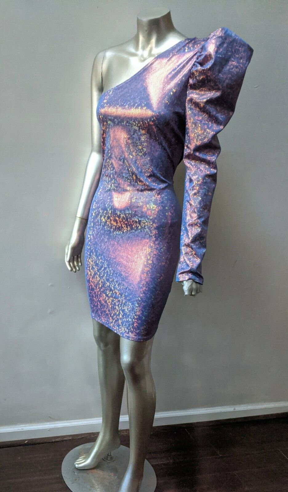 ONE SHOULDER PUFFED SLEEVE IRRIDESCENT SPARKLING … - image 2