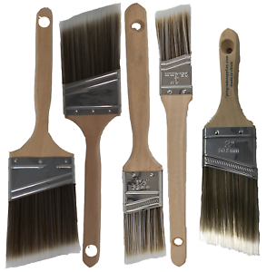 5PK Angle House Wall,Trim Paint Brush Set Home Exterior or Interior Brushes