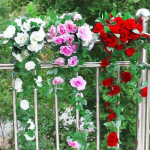Artificial Decorations Artificial & Dried Flowers 245cm Long Artificial Silk Flower Vine 16 Colors Roses Flower Rattan Plants Leaves Home Wall Garden Wedding Decoration Supplies