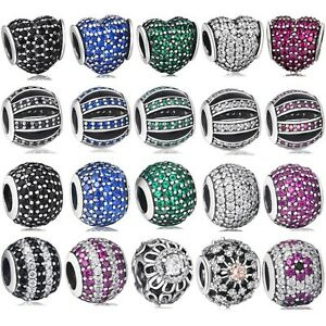 Silver-Charm-Bead-Crystals-Pave-Fit-Authentic-925-Sterling-3mm-European-Bracelet