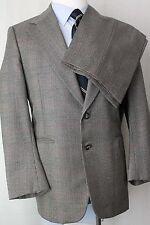 38S Lord & Taylor Gray Glen Plaid 100% Wool 2 Btn. Flat Front Mens Suit JA7 ets