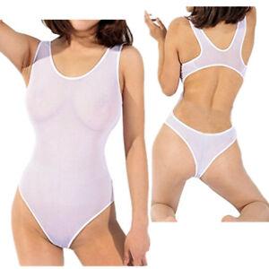 6a234d4c8d Image is loading Womens-Sheer-Mesh-Lingerie-High-Cut-Sleeveless-Bodysuit-