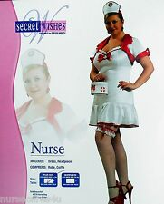 NURSE HALLOWEEN COSTUME SHORT DRESS CAP STETHOSCOPE SYRINGE WOMEN'S PLUS SIZE