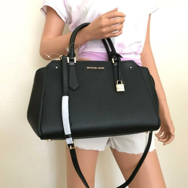 Nwt Michael Kors Hayes Large Black Leather Satchel Bag Purse