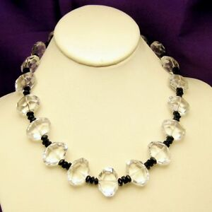 Vintage-Chunky-Glass-Beads-Necklace-Clear-Black-Unique-Style-Artisan-Made