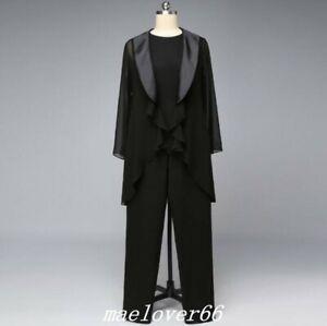 Black-Chiffon-Mother-Of-The-Bride-Pants-Suit-3PCS-Guest-Satin-Collar-Plus-Size