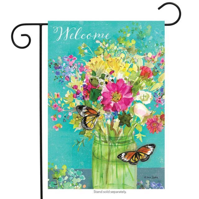 Spring Mason Jar Garden Flag Floral Welcome Butterfly 12.5 X 18 | eBay