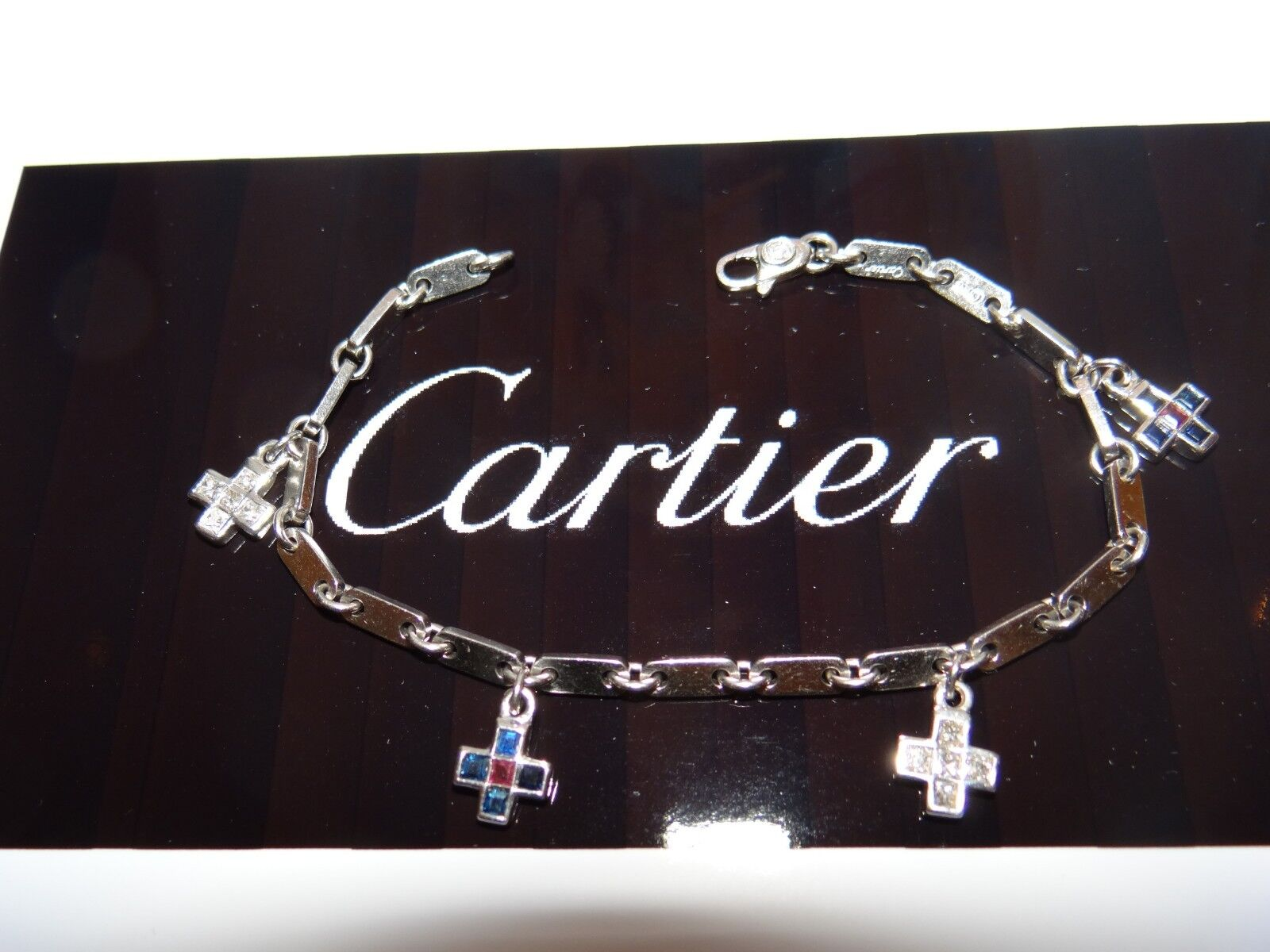 Cartier Charm Bracelet 18k Crosses With Diamonds, Rubies and Sapphires