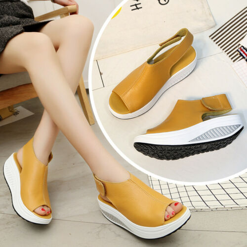 Women/'s Fashion Faux Leather Peep Toe Wedge Sandals Platform Swing Shoes KQ/_ HK