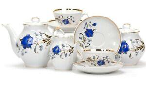 Dulevo Porcelain Coffee or tea set Blue poppy design 6 persons 15 pcs