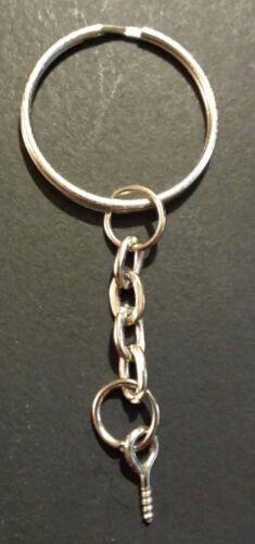 Multiple Purpose Uses! 100 x Split Metal Key Rings With Chain Loop and Screw