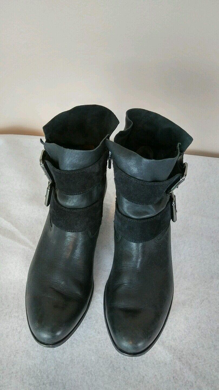 Paul Green denver' Belted Buckles Black Bootie suede & Leather 5.5 (8 US) sale