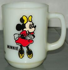 Disney Minnie Mouse Coffee Mug Cup Anchor Hocking White Milk Glass Pepsi Series