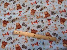 Blue Woodland Animal/Fox/Wolf/Bear/Deer/Racoon Cotton Fabric by the Yard