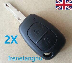 2X-Renault-Trafic-Vivaro-Primastar-Master-Kangoo-2-Button-Key-Fob-Case-and-Blade