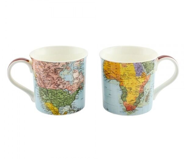 World Traveller Map Mug Set - Travel the world via your mugs - 2 World Map Mugs