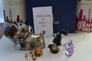 ea90f3b7dc9f0 Details about Swarovski figurines The Lovlots gang of dogs Highly  Collectible MIB