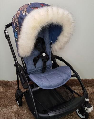 Luxury Fur Pram Hood Pram Stroller ALL MODEL Blue Pink Brown Red Soft Royal Furs