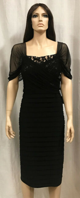 8b9b62854c4 Adrianna Papell Black Lace and Jersey Shutter Pleat Dress Plus Sz. 18 NWT   178