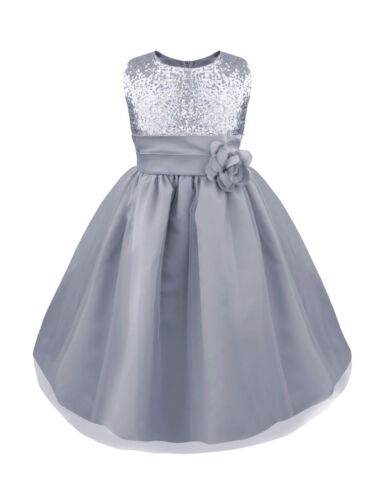 US Kids Baby Flowers Girls Party Sequin Dress Wedding Bridesmaid  Princess Dress