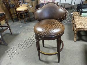 Awesome Details About 1 Frontgate Nicholson Low Back Barstool Counter Bar Kitchen Stool Wood Leather Unemploymentrelief Wooden Chair Designs For Living Room Unemploymentrelieforg