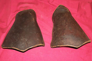 Old Tapaderos Leather Covered Hooded Stirrups Horse Saddle Cowboy Western Taps