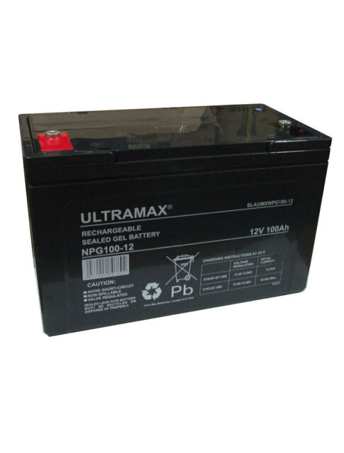 ULTRAMAX NPG100-12, 12V 100AH (as 90Ah) SEALED GEL RECHARGEABLE UPS BATTERY
