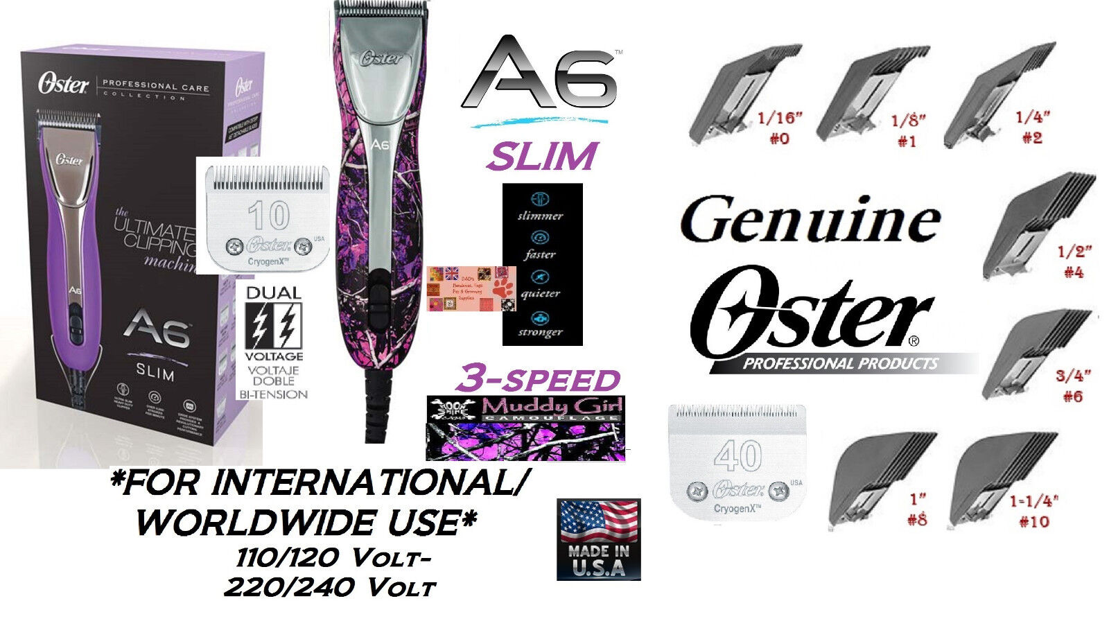 Oster A6 MUDDY GIRL CAMO ULTIMATE Clipper&Cryogen-X 10,40 Blade&7 Guide Comb Set