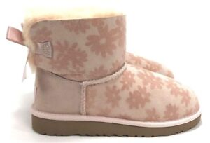 a0068a0dbee Details about UGG Mini Bailey Bow Flowers Pink Boots Suede Girl's Youth  Size 4